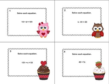 Solving  Equations - All 4 Operations Grade 6-Valentine's-40 Math Task Cards
