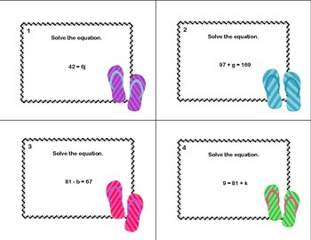 40 Math Task Cards- Solving  Equations Using All 4 Operations Grade 6-Flip Flop