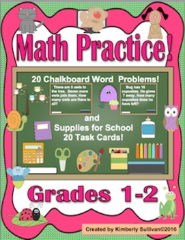 Word Problems Math Task Cards! Common Core  Grades  1 - 2