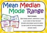 40 Mean Median Mode & Range Task Cards (> 80 questions), P