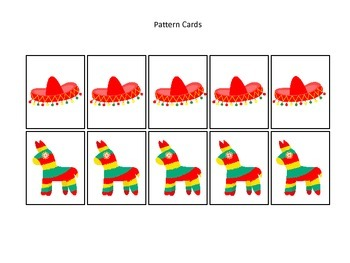 40 Mexico themed Pattern Cards learning activity. Daycare early math.