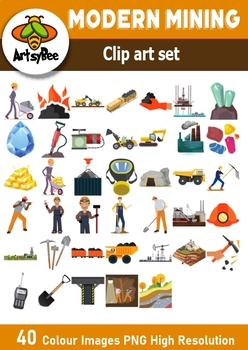 40 Modern Mining clip art images for commercial use + presentation template