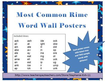 40 Most Common Rimes! Word Wall Poster Printables!