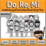 Music Reading Activity BUNDLE - Do, Re, Mi | Kodaly Songs with Orff Ostinato