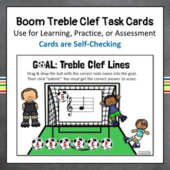 Treble Clef Note Names-LINES, Music Boom Online Task Cards