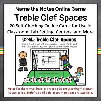 Treble Clef Note Names-SPACES, Set 1, Music Boom Online Task Cards (Basic)
