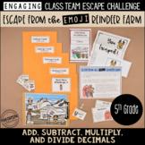 5th Grade Winter Escape Room | Winter Break Math Review