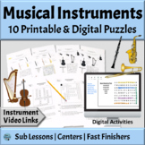 Musical Instruments Families | Word Search & Crossword Puzzles