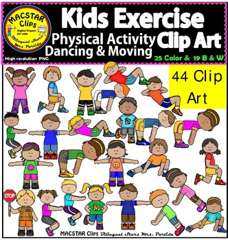 Kids Exercise Physical Activity Dancing & Moving Clip Art