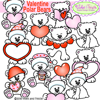 Polar Bear Clipart Valentine Polar Bear Clip Art By Violet And Thistle