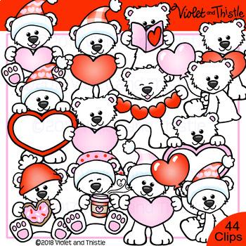 Polar Bear Clipart Valentine Polar Bear Clip Art By Violet And Thistle