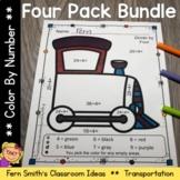 Color By Number Addition Subtract Multiplication Division Transportation Bundle