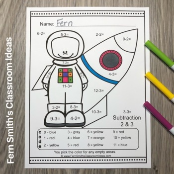 Color By Numbers Careers: Addition and Subtraction