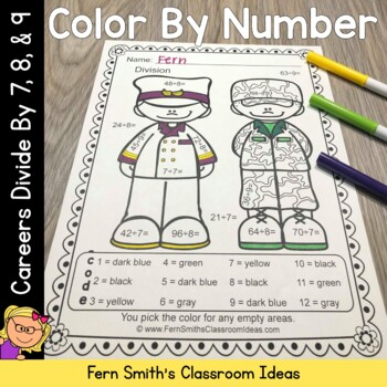 Color By Number Careers Divide by 7, 8, and 9