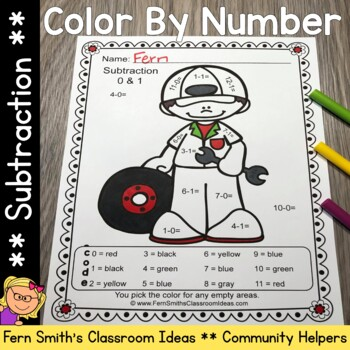 Color By Number Subtraction Careers - Community Helpers
