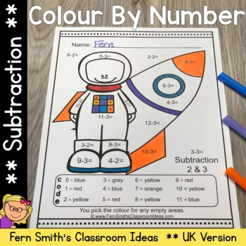 Colour By Numbers Careers: Subtraction UK Version