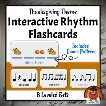 Thanksgiving Interactive Rhythm Pattern Flashcards-Centers & Music Activities