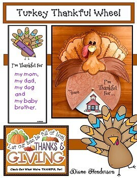 """""""I'm Thankful For..."""" Turkey Wheel Craft With Writing Prompts"""