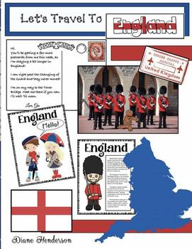"""Let's Travel To ENGLAND!""  For ""Travels Around the World"" Packet"