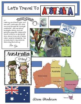 """""""Let's Travel To AUSTRALIA!""""  For """"Travels Around the World"""" Packet"""