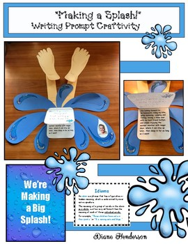 "Back To School ""Making a Splash"" Writing Prompt Craft Great For End of Year Too!"