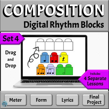Music Composition Activities   Drag and Drop Rhythm Blocks   PowerPoint, Set 4