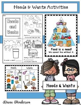"""NEEDS & WANTS"" Emergent Reader With Poster Activities"