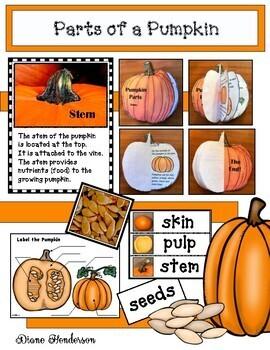 """Pumpkin Activities: """"Parts of a Pumpkin"""" Activities"""