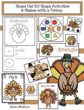 "Turkey Activities: ""Shape Up!"" 2D Shape Activities & Games"