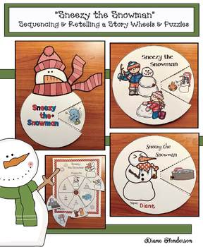 """Winter / Snowman Activities: """"Sneezy the Snowman"""" Storytelling Wheels & Puzzles"""