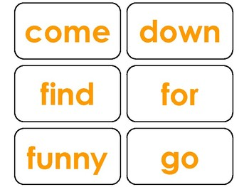 40 Orange Bold Text Dolch Pre-Primer Sight Word Flash Cards in a PDF file.
