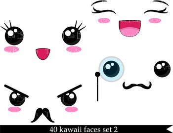 40 PNG Files - Kawaii Faces SET 2 - Digital Clip Art - 300 dpi 087