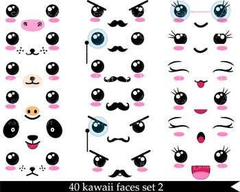40 PNG Files - Kawaii Faces SET 2 - Digital Clip Art - 300