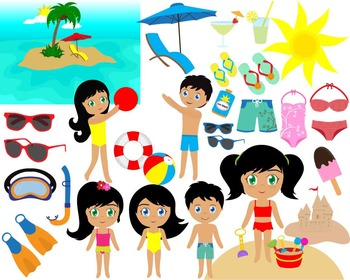40 PNG Files- On the Beach ClipArt- Digital Clip Art - 300