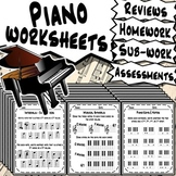 50 Piano Worksheets - Tests Quizzes Homework Class Review or Sub Work!