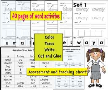 Sight Word Dolch Pre Primer Work On Words Multi Sensory Center Activities 89 Pgs