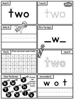 40 PreK SUPER Sight Word Practice (Dolch) Printables