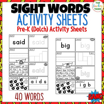 40 PreK SUPER Sight Words Practice Dolch Printables