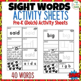 Pre-K Sight Words Activity Worksheets Dolch