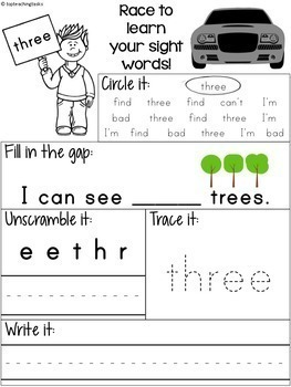 40 PreK Sight Word Practice (Dolch) Printables