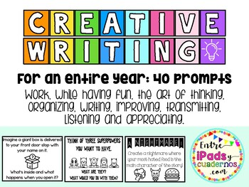 40 Prompts for Creative Writing! (An Entire School Year!) (English)