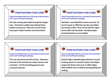 40 Punctuation Task Cards for 6th-12th Grades!