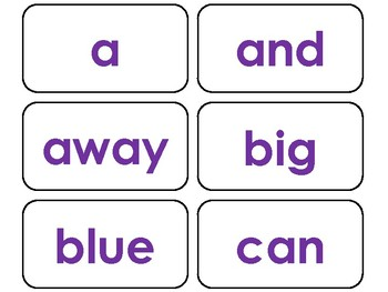40 Purple Bold Text Dolch Pre-Primer Sight Word Flash Cards in a PDF file.