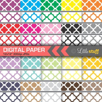 40 Quatrefoil Digital Papers, Quatrefoil Digital Backgrounds Value Pack