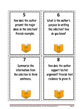 40 Questioning Cards for Any Informational Text