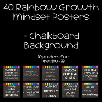 40 Rainbow Growth Mindset Posters Chalkboard Background
