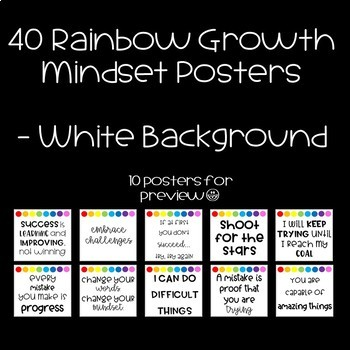 40 Rainbow Growth Mindset Posters White Background