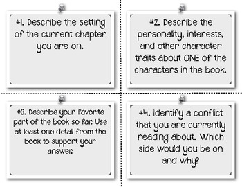 Reading Response Task Cards for ANY Chapter Book