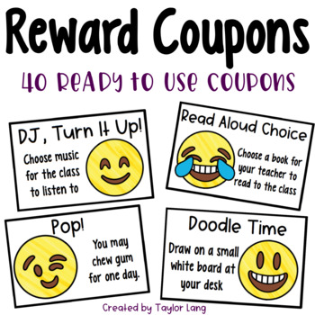 40 Ready-to-Use Classroom Reward Coupons... Emoji Themed!