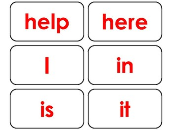 40 Red Bold Text Dolch Pre-Primer Sight Word Flash Cards in a PDF file.